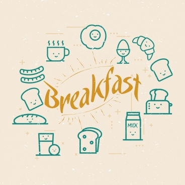 breakfast design elements various food icons flat sketch