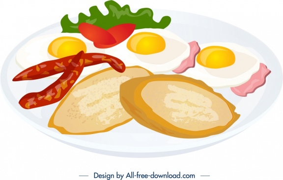 breakfast icon bacon bread egg ingredients decor