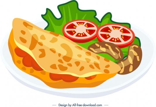 breakfast icon sausage tomato omelet icons colorful design