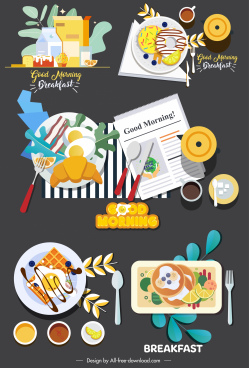 breakfast icons colorful classical flat sketch