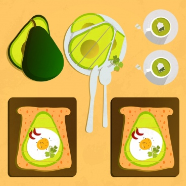 breakfast meal theme avocado egg tea icons decoration
