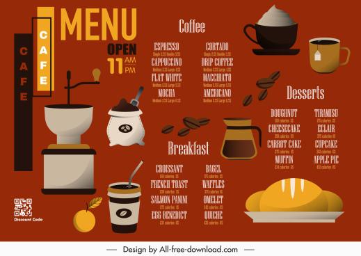breakfast menu template cafe bread bean cup sketch