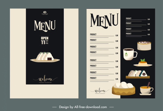 breakfast menu template elegant black white classical decor