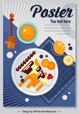 breakfast poster colorful flat classic sketch