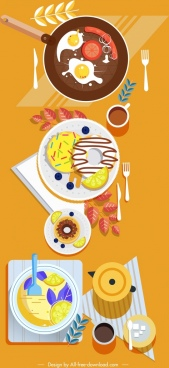breakfast preparation painting colorful classical design