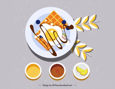 breakfast preparation painting colorful classical flat design