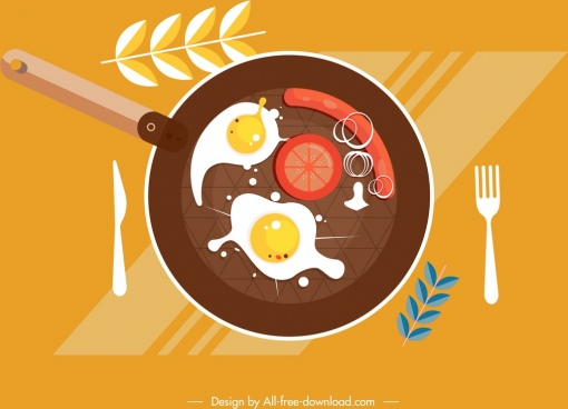 breakfast preparation painting pan food icons flat design