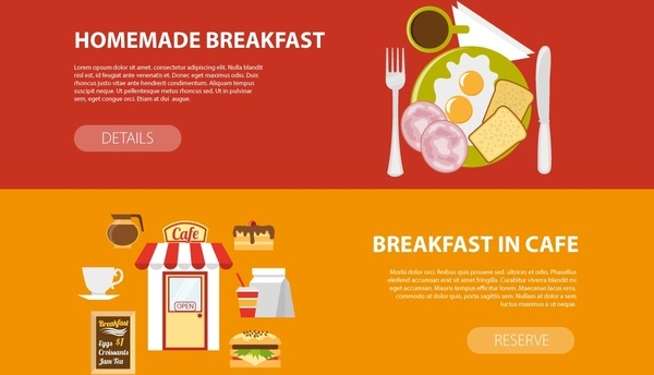 breakfast promotion banners design in horizontal style