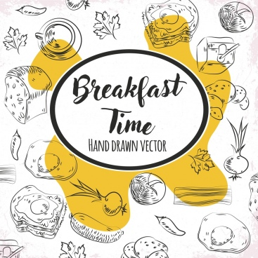 breakfast time banner food icons handdrawn sketch