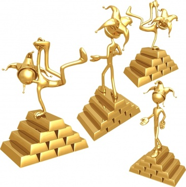 award icon template golden 3d human gesture decor