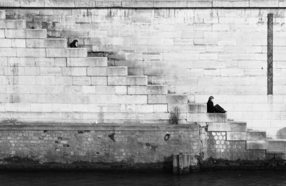 brick dock pattern people river sitting stair step