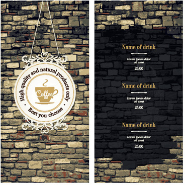 brick wall style coffee menu background vector