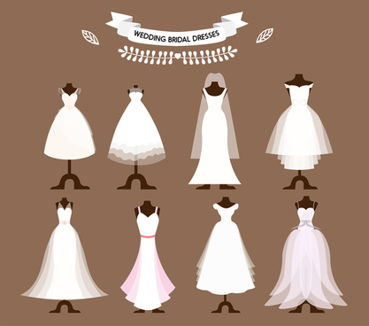 bridal dresses collection vector illustrations with different styles