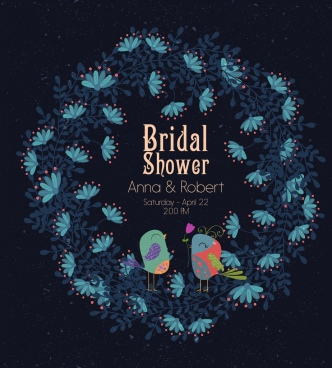 bridal shower banner birds flowers icons decoration