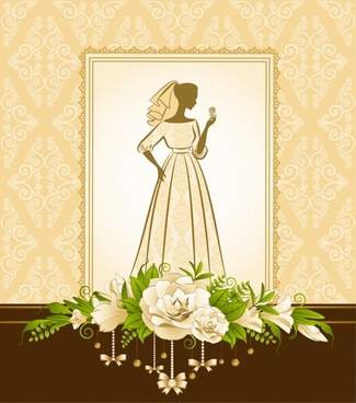 bridal background template silhouette sketch elegant classic floral