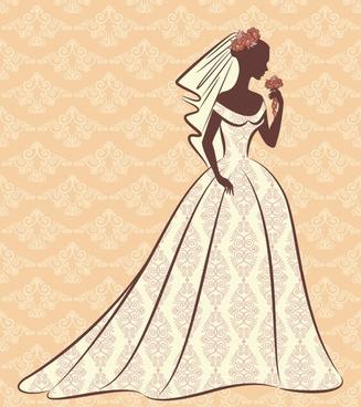 bridal background template elegant classical flat silhouette decor