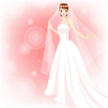 bridal background elegant bride icons cartoon character