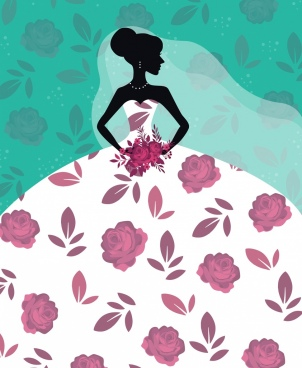 bride background roses decor silhouette design