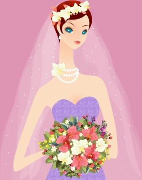 bride holding flowers bouquet drawing cute cartoon design