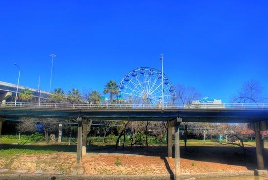 bridge and ferris wheel in houston texas