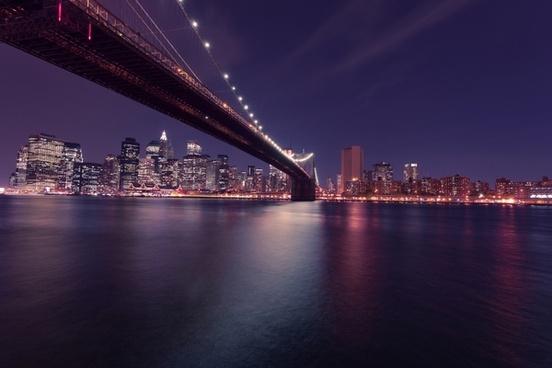 bridge brooklyn bridge building city light manhattan