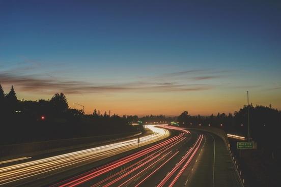 bridge car city dusk evening fast highway landscape