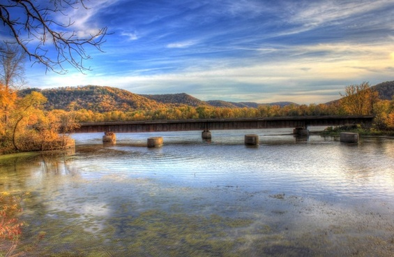 bridge on the backwaters of the mississippi at perrot state park wisconsin