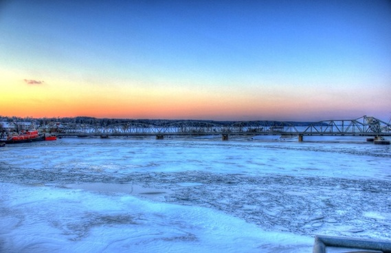bridge over icy bay in sturgeon bay wisconsin