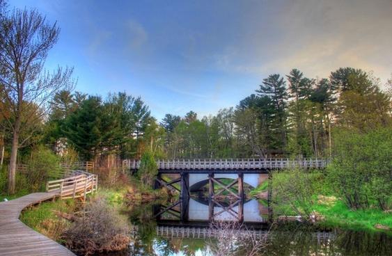 bridge spanning the stream in the upper peninsula michigan