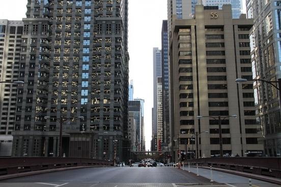 bridge street into city buildings