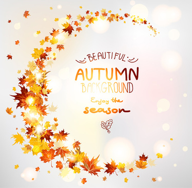 bright autumn leaf backgrounds vector set