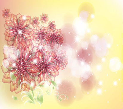 bright background with flower design vector