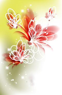 bright background with vivid flower design vector