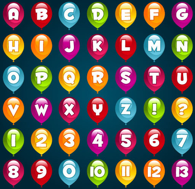 bright balloon alphabet and numeral vector