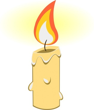 bright candle vector illustration with realistic cartoon design