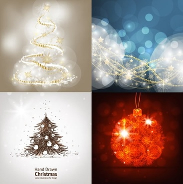 christmas background templates bokeh dynamic fir tree bauble