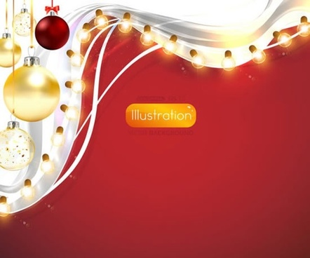 bright christmas lights background vector