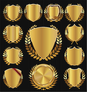 bright clean golden labels vector