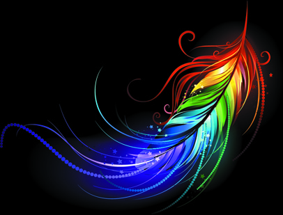 bright colorful feather vector