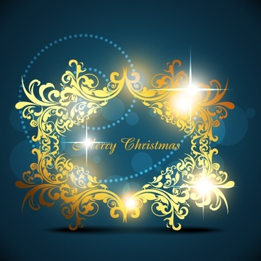 christmas background classical elegant twinkling golden curves decor