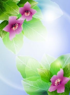nature background modern vivid decor petals leaves sketch