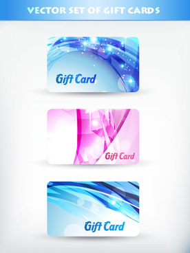 bright gift cards design elements vector graphic