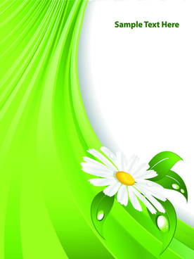bright green background with flower vector