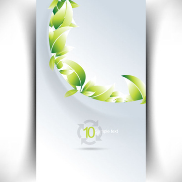 bright green leaves card vector