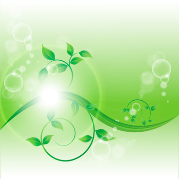 bright green leaves with air bubble vector background