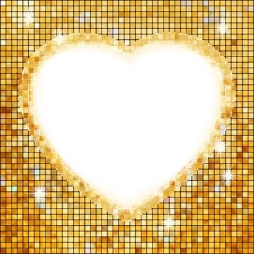 bright heartshaped mosaic vector