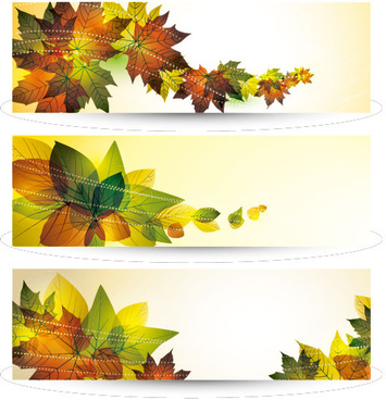 bright leaves banner design vector set