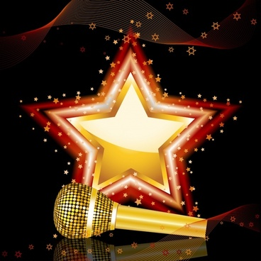 music background shiny modern sparkling star microphone decor