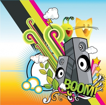 music background bright colorful funny active design