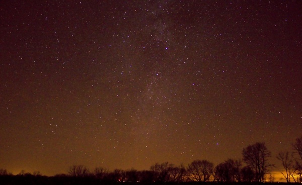 bright night sky at hogback prairie state natural area wisconsin